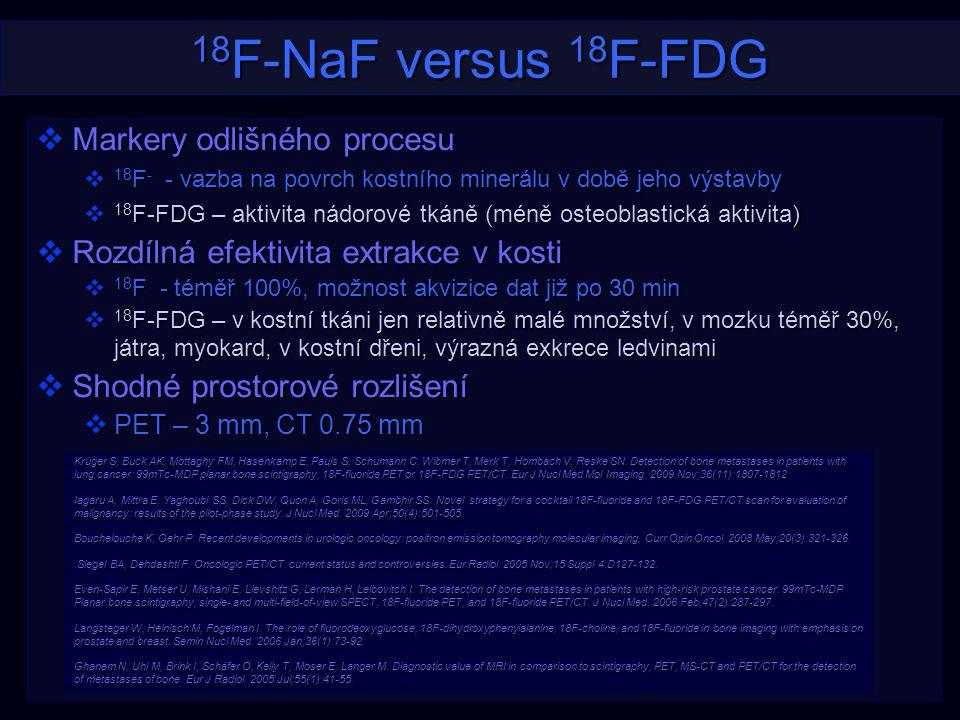 18 F-NaF versus 18 F-FDG  Markery odlišného procesu  18 F - - vazba na povrch kostního minerálu v době jeho výstavby  18 F-FDG – aktivita nádorové