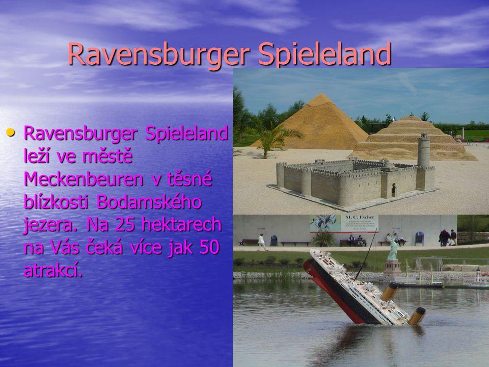 Ravensburger Spieleland Ravensburger Spieleland leží ve městě Meckenbeuren v těsné blízkosti Bodamského jezera. Na 25 hektarech na Vás čeká více jak 5