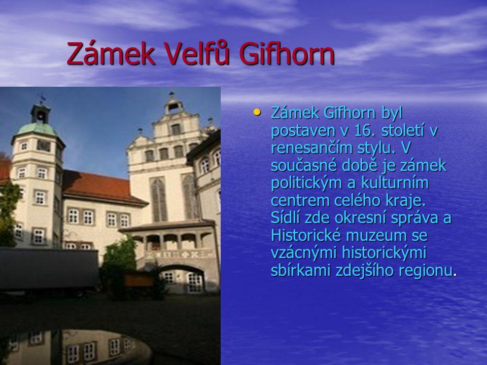 Zámek Velfů Gifhorn Zámek Velfů Gifhorn Zámek Gifhorn byl postaven v 16. století v renesančím stylu. V současné době je zámek politickým a kulturním c