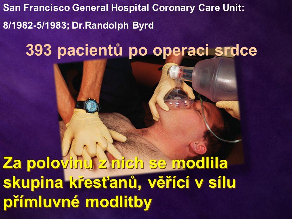 San Francisco General Hospital Coronary Care Unit: 8/1982-5/1983; Dr.Randolph Byrd 393 pacientů po operaci srdce Za polovinu z nich se modlila skupina
