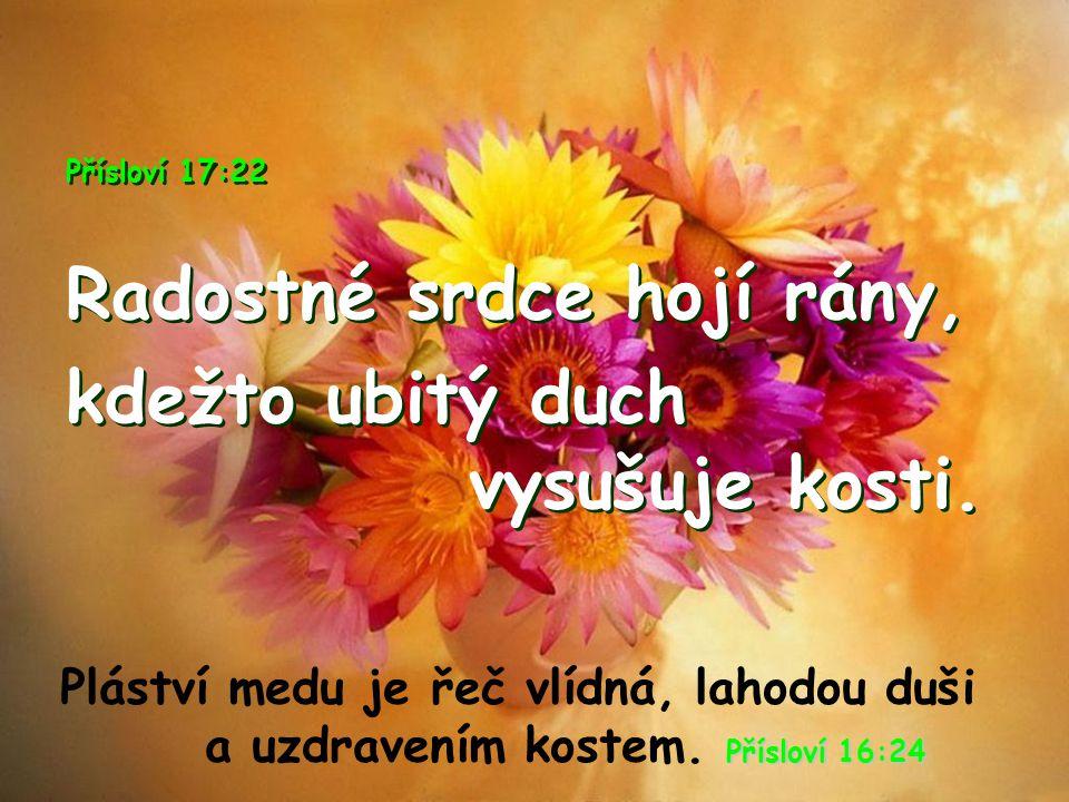 Přísloví 17:22 Radostné srdce hojí rány, kdežto ubitý duch vysušuje kosti. Přísloví 17:22 Radostné srdce hojí rány, kdežto ubitý duch vysušuje kosti.