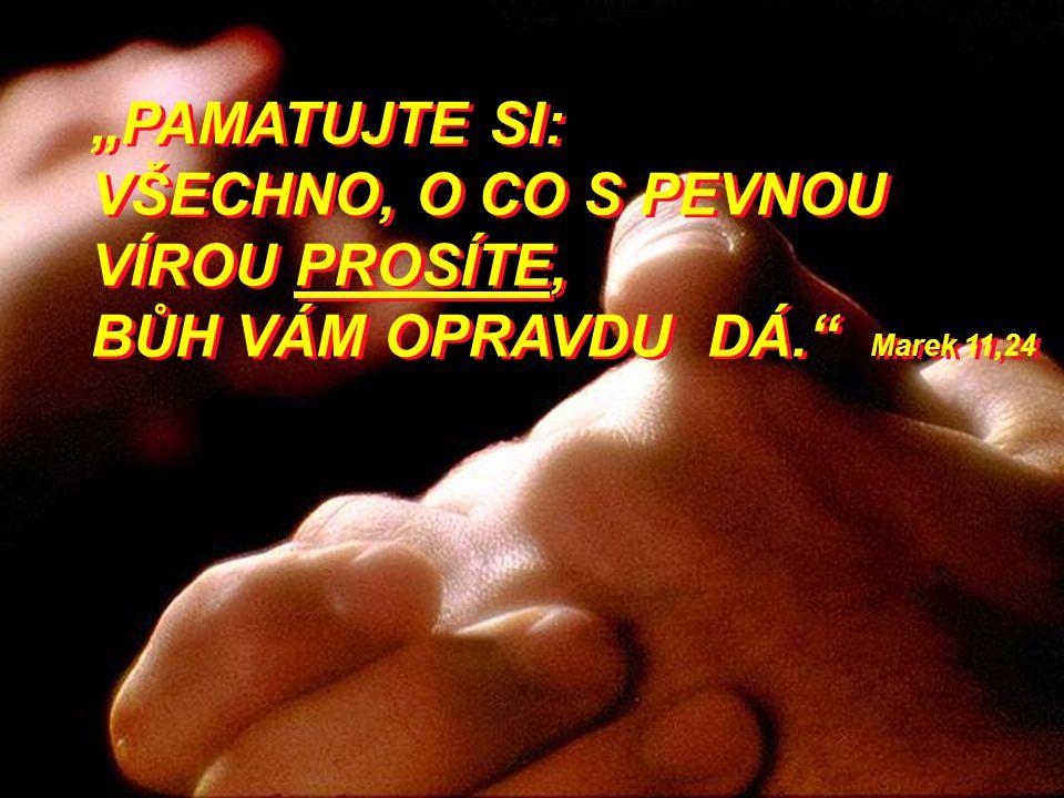 """""""PAMATUJTE SI: VŠECHNO, O CO S PEVNOU VÍROU PROSÍTE, BŮH VÁM OPRAVDU DÁ."""" Marek 11,24"""