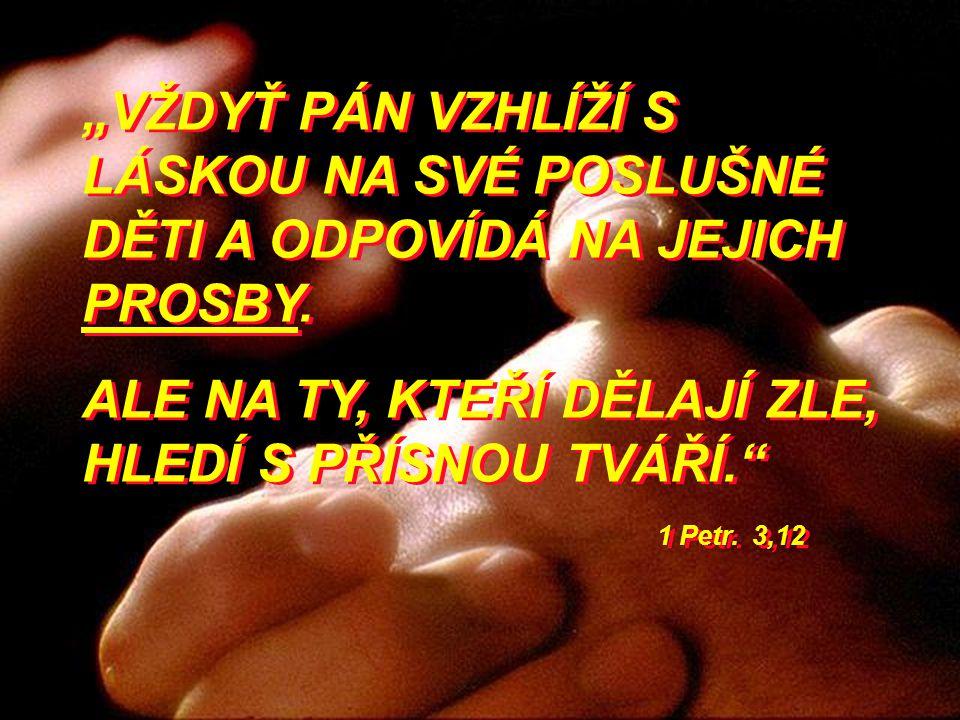 """""""VŽDYŤ PÁN VZHLÍŽÍ S LÁSKOU NA SVÉ POSLUŠNÉ DĚTI A ODPOVÍDÁ NA JEJICH PROSBY. ALE NA TY, KTEŘÍ DĚLAJÍ ZLE, HLEDÍ S PŘÍSNOU TVÁŘÍ."""" 1 Petr. 3,12 """"VŽDYŤ"""