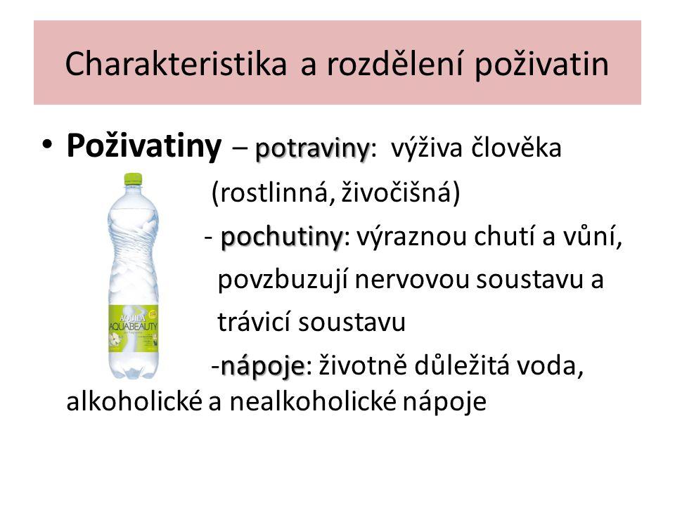 Charakteristika a rozdělení poživatin potraviny Poživatiny – potraviny: výživa člověka (rostlinná, živočišná) pochutiny - pochutiny: výraznou chutí a vůní, povzbuzují nervovou soustavu a trávicí soustavu nápoje -nápoje: životně důležitá voda, alkoholické a nealkoholické nápoje