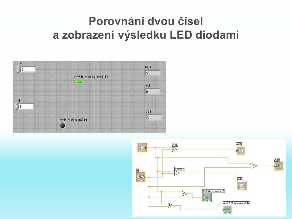 Porovnání dvou čísel a zobrazení výsledku LED diodami
