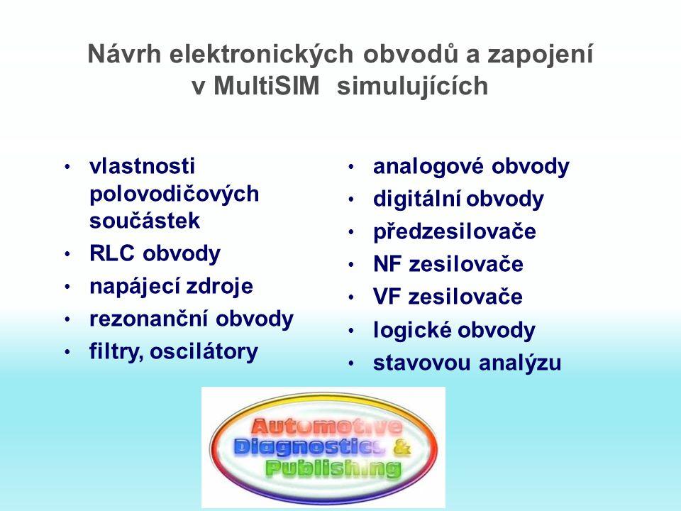 Návrh elektronických obvodů a zapojení v MultiSIM simulujících vlastnosti polovodičových součástek RLC obvody napájecí zdroje rezonanční obvody filtry, oscilátory analogové obvody digitální obvody předzesilovače NF zesilovače VF zesilovače logické obvody stavovou analýzu