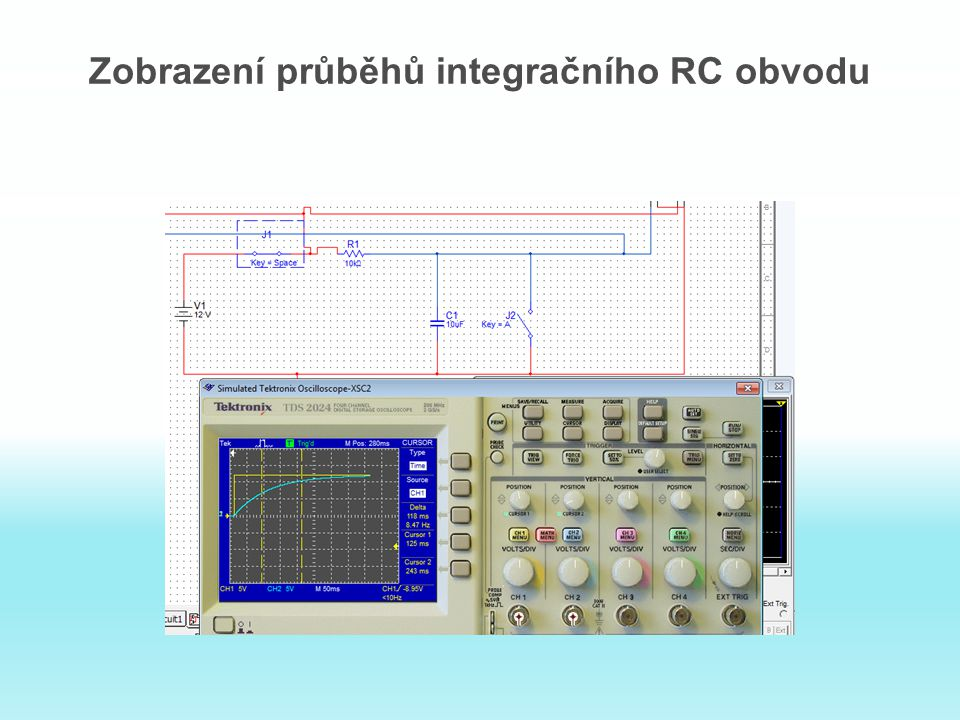 Zobrazení průběhů integračního RC obvodu