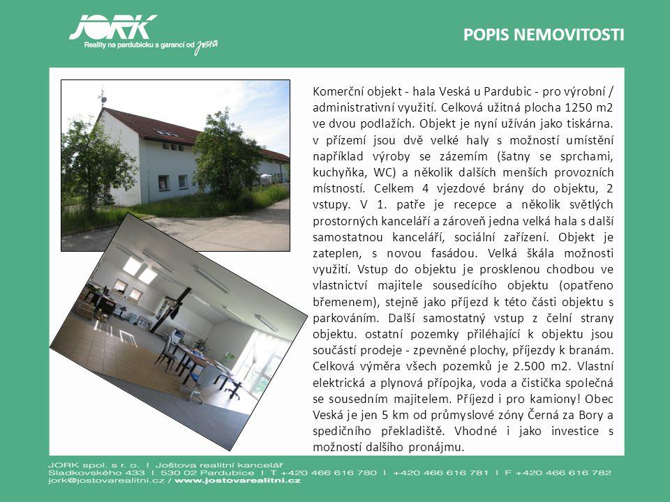 Komerční objekt - hala Veská u Pardubic - pro výrobní / administrativní využití. Celková užitná plocha 1250 m2 ve dvou podlažích. Objekt je nyní užívá