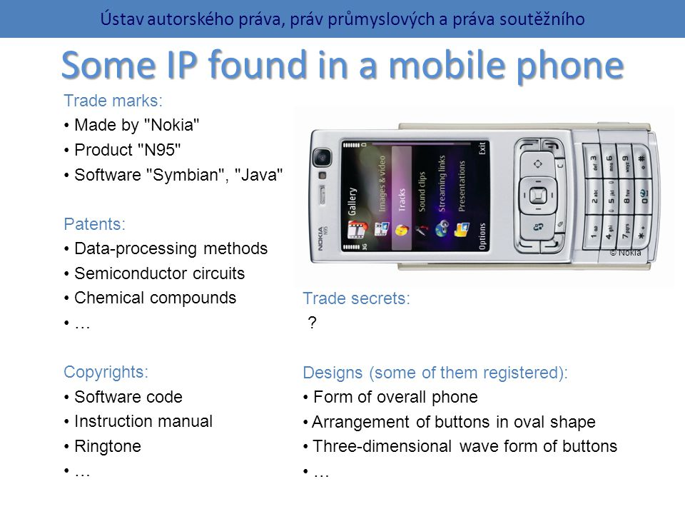 Some IP found in a mobile phone Trade marks: Made by