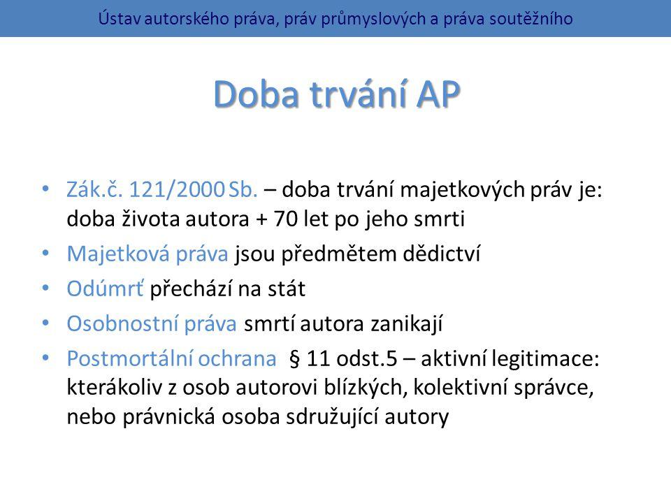 Doba trvání AP Zák.č.121/2000 Sb.