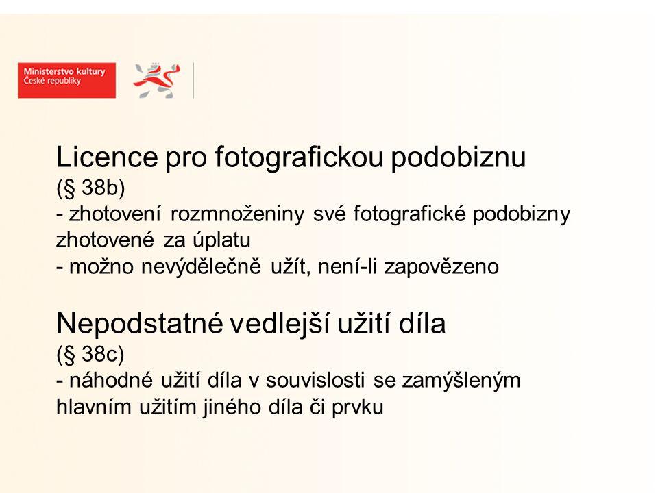 Licence pro fotografickou podobiznu (§ 38b) - zhotovení rozmnoženiny své fotografické podobizny zhotovené za úplatu - možno nevýdělečně užít, není-li zapovězeno Nepodstatné vedlejší užití díla (§ 38c) - náhodné užití díla v souvislosti se zamýšleným hlavním užitím jiného díla či prvku