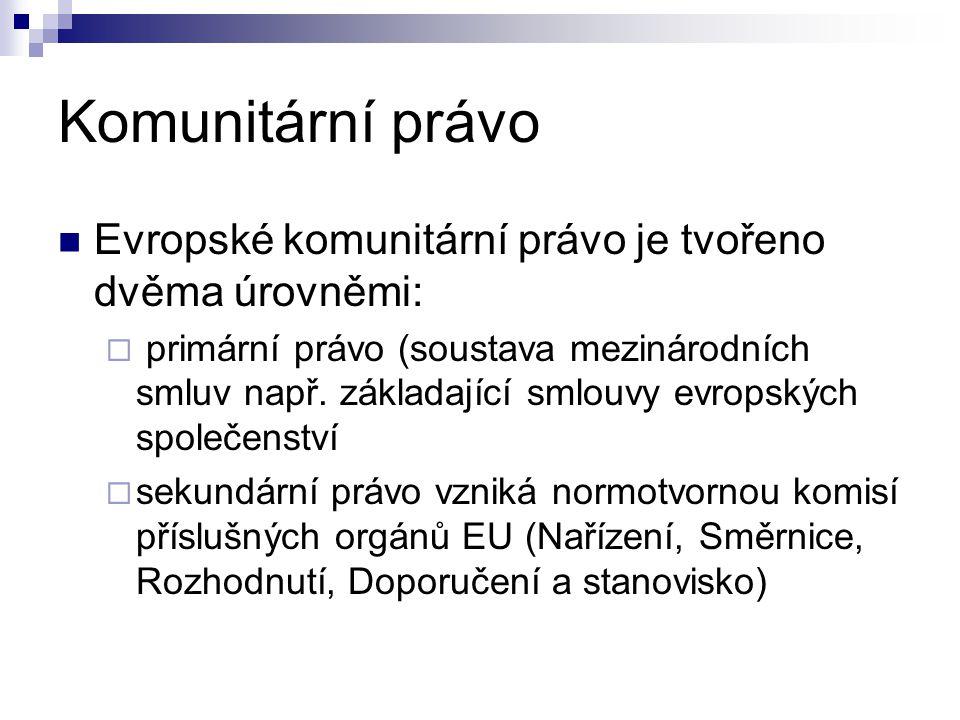 Komunitární právo Evropské komunitární právo je tvořeno dvěma úrovněmi:  primární právo (soustava mezinárodních smluv např. základající smlouvy evrop