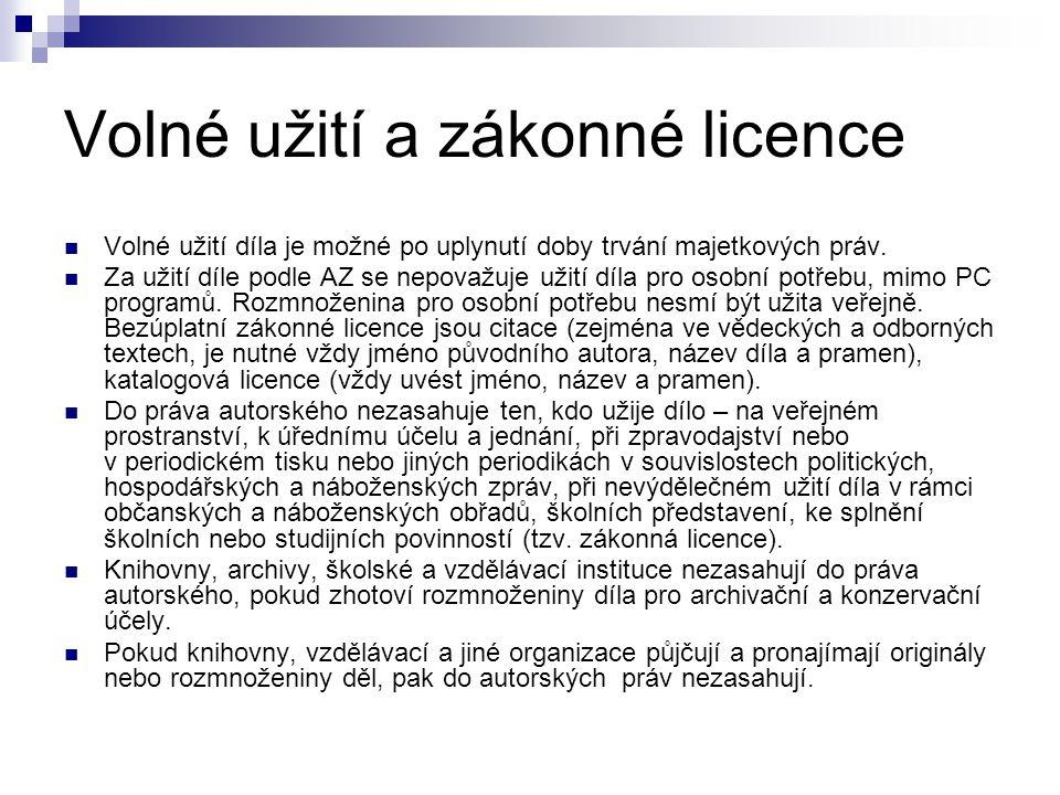 Volné užití a zákonné licence Volné užití díla je možné po uplynutí doby trvání majetkových práv. Za užití díle podle AZ se nepovažuje užití díla pro