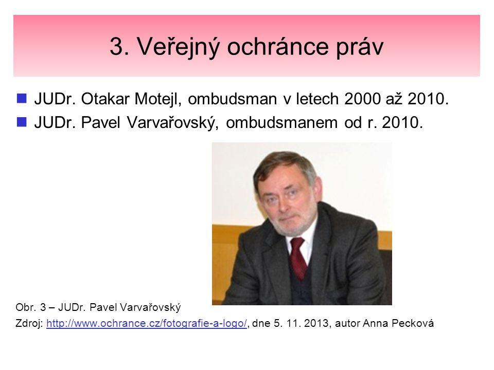 3. Veřejný ochránce práv JUDr. Otakar Motejl, ombudsman v letech 2000 až 2010. JUDr. Pavel Varvařovský, ombudsmanem od r. 2010. Obr. 3 – JUDr. Pavel V