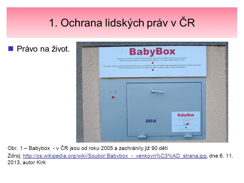 1. Ochrana lidských práv v ČR Právo na život. Obr. 1 – Babybox - v ČR jsou od roku 2005 a zachránily již 90 dětí Zdroj: http://cs.wikipedia.org/wiki/S