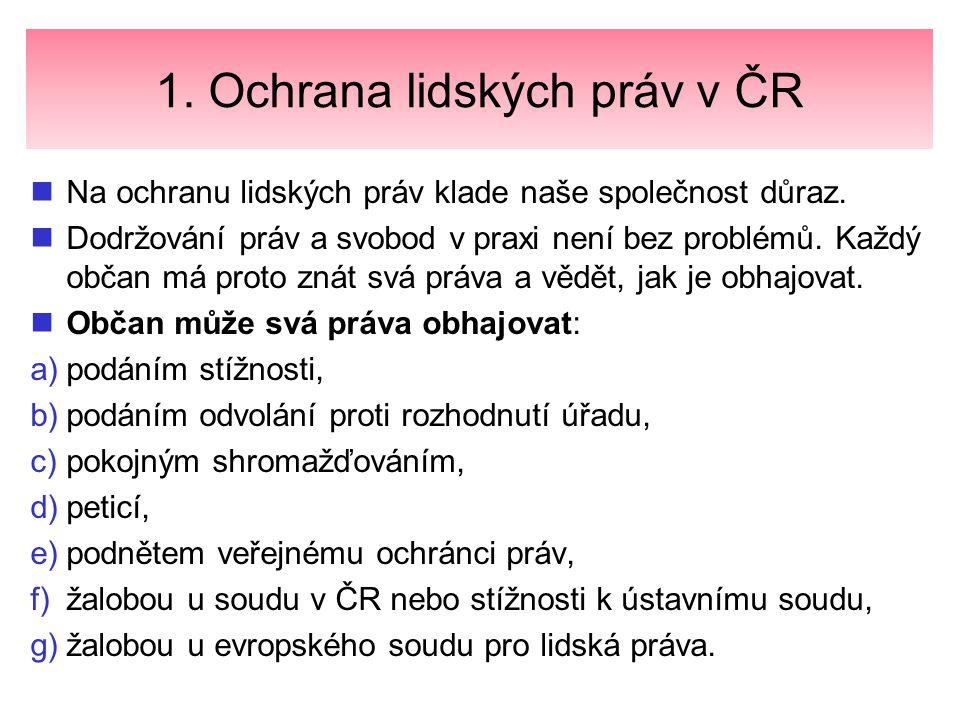 1. Ochrana lidských práv v ČR Na ochranu lidských práv klade naše společnost důraz. Dodržování práv a svobod v praxi není bez problémů. Každý občan má