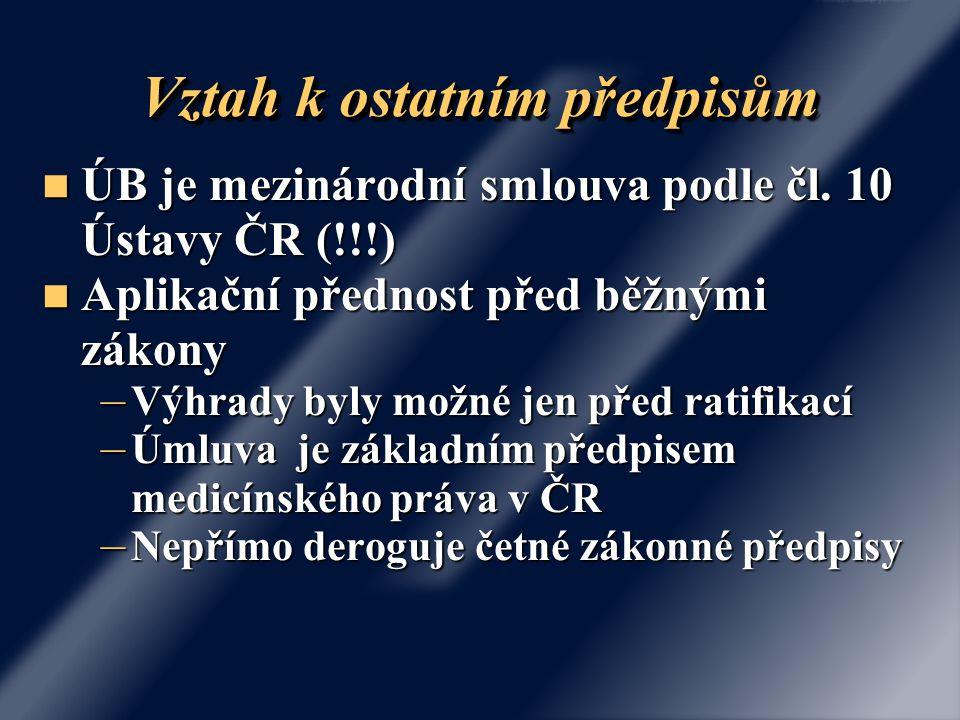 """Hierarchie právních norem Podzákonné předpisy (vyhlášky, nařízení vlády) """"Obyčejné zákony Mezinárodní úmluvy podle čl.10 Ústavy Ústavní zákony (Listina) Článek 10 Ústavy: Vyhlášené mezinárodní smlouvy, k jejichž ratifikaci dal Parlament souhlas a jimiž je Česká republika vázána, jsou součástí právního řádu; stanoví-li mezinárodní smlouva něco jiného než zákon, použije se mezinárodní smlouva."""