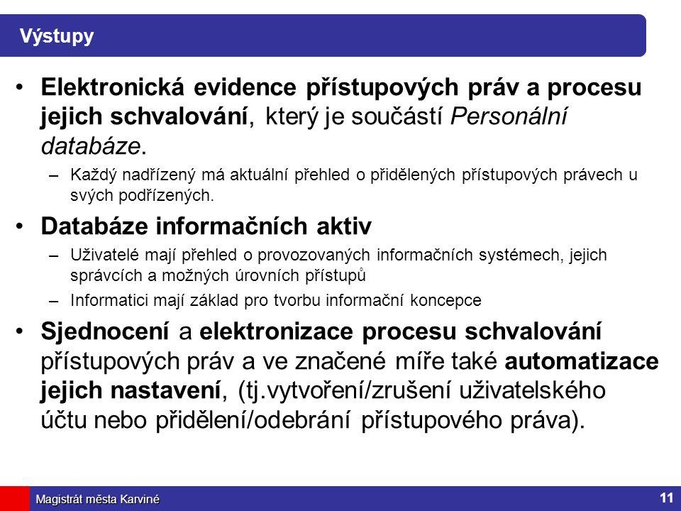 Magistrát města Karviné Výstupy Elektronická evidence přístupových práv a procesu jejich schvalování, který je součástí Personální databáze. –Každý na