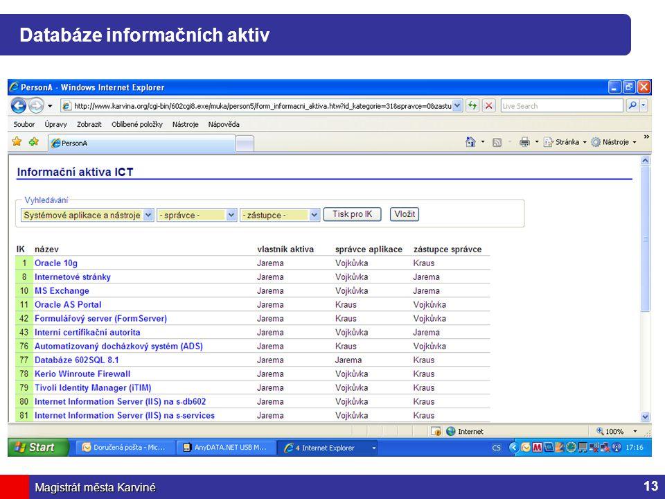 Magistrát města Karviné Databáze informačních aktiv 13