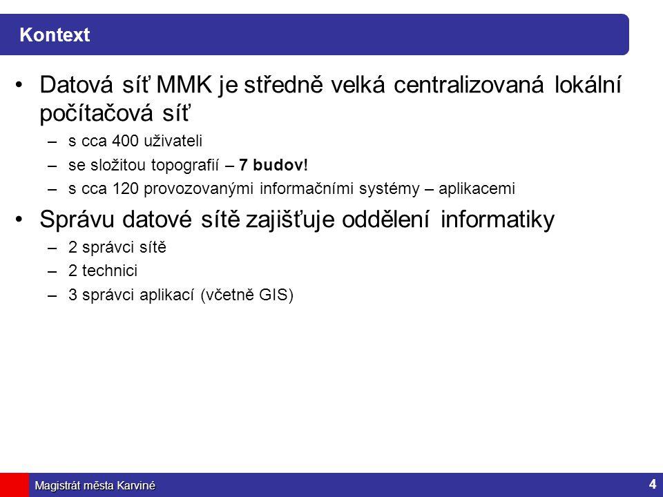 Magistrát města Karviné Kontext Datová síť MMK je středně velká centralizovaná lokální počítačová síť –s cca 400 uživateli –se složitou topografií – 7