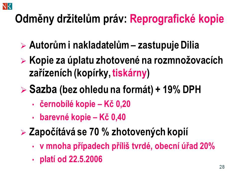 28 Odměny držitelům práv: Reprografické kopie  Autorům i nakladatelům – zastupuje Dilia  Kopie za úplatu zhotovené na rozmnožovacích zařízeních (kop