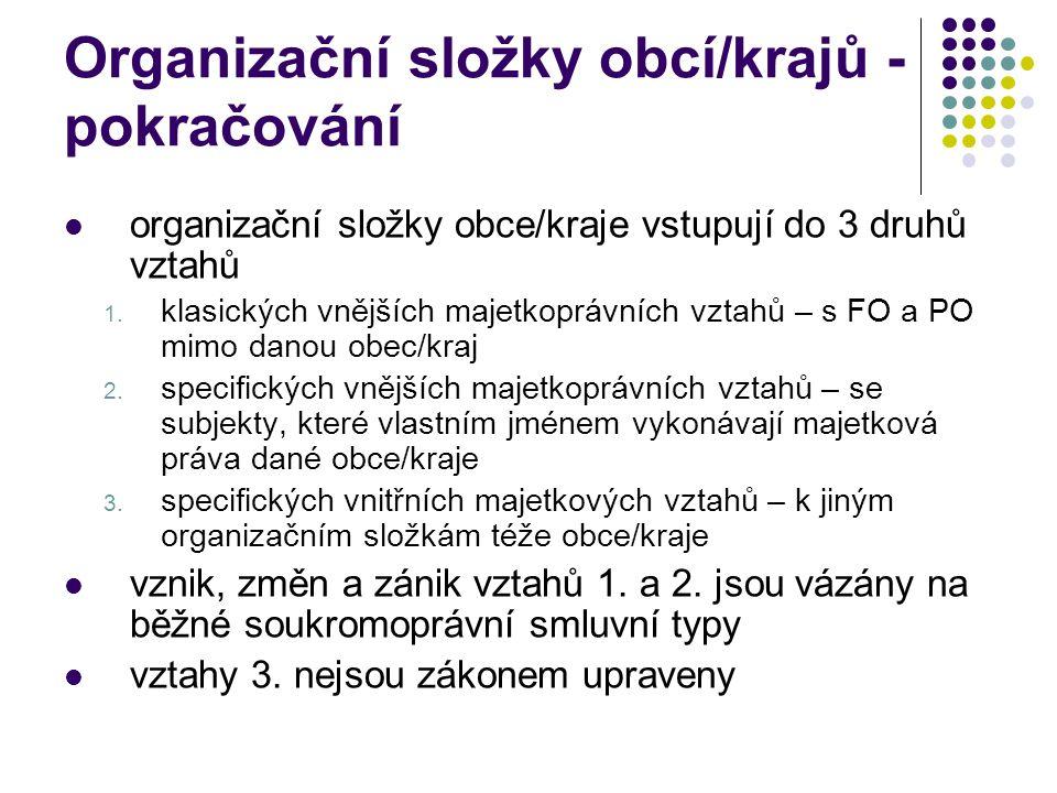 Organizační složky obcí/krajů - pokračování nejsou účetními jednotkami vznik vázán na rozhodnutí zastupitelstva (§ 24 odst.