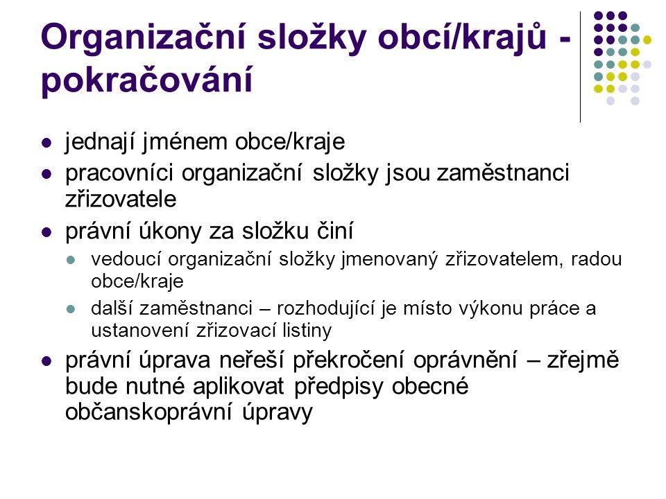 Organizační složky obcí/krajů - pokračování jednají jménem obce/kraje pracovníci organizační složky jsou zaměstnanci zřizovatele právní úkony za složk