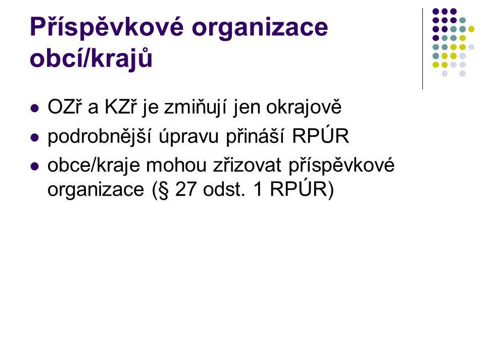 Příspěvkové organizace obcí/krajů OZř a KZř je zmiňují jen okrajově podrobnější úpravu přináší RPÚR obce/kraje mohou zřizovat příspěvkové organizace (