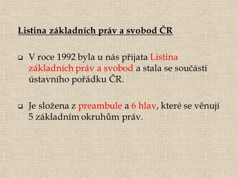 Listina základních práv a svobod ČR  V roce 1992 byla u nás přijata Listina základních práv a svobod a stala se součástí ústavního pořádku ČR.  Je s