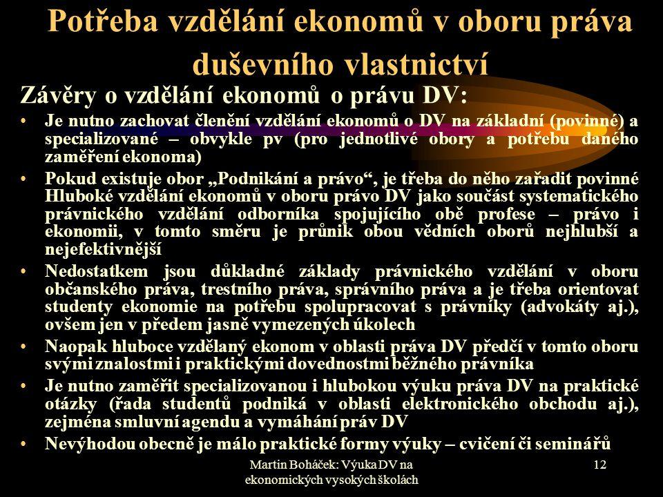 Martin Boháček: Výuka DV na ekonomických vysokých školách 12 Potřeba vzdělání ekonomů v oboru práva duševního vlastnictví Závěry o vzdělání ekonomů o