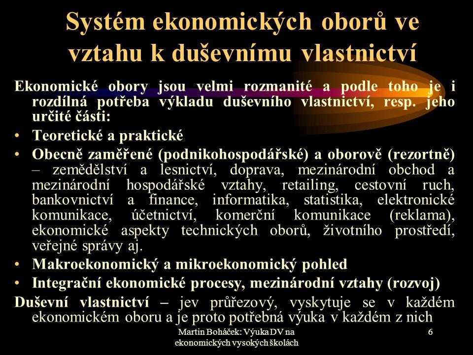 Martin Boháček: Výuka DV na ekonomických vysokých školách 6 Systém ekonomických oborů ve vztahu k duševnímu vlastnictví Ekonomické obory jsou velmi ro