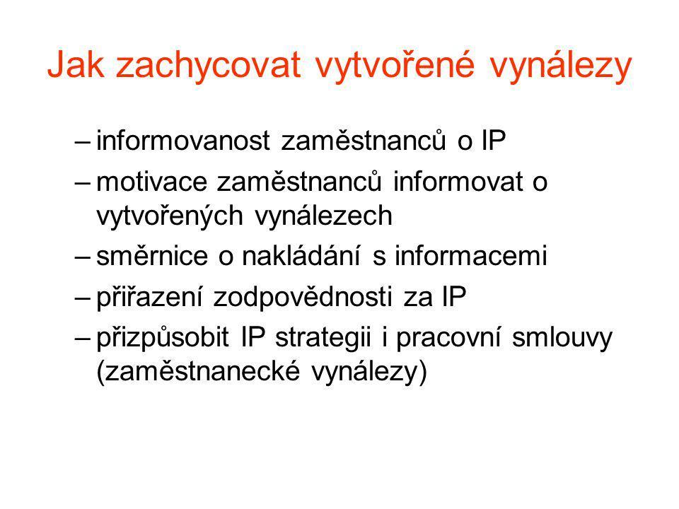 Jak zachycovat vytvořené vynálezy –informovanost zaměstnanců o IP –motivace zaměstnanců informovat o vytvořených vynálezech –směrnice o nakládání s informacemi –přiřazení zodpovědnosti za IP –přizpůsobit IP strategii i pracovní smlouvy (zaměstnanecké vynálezy)