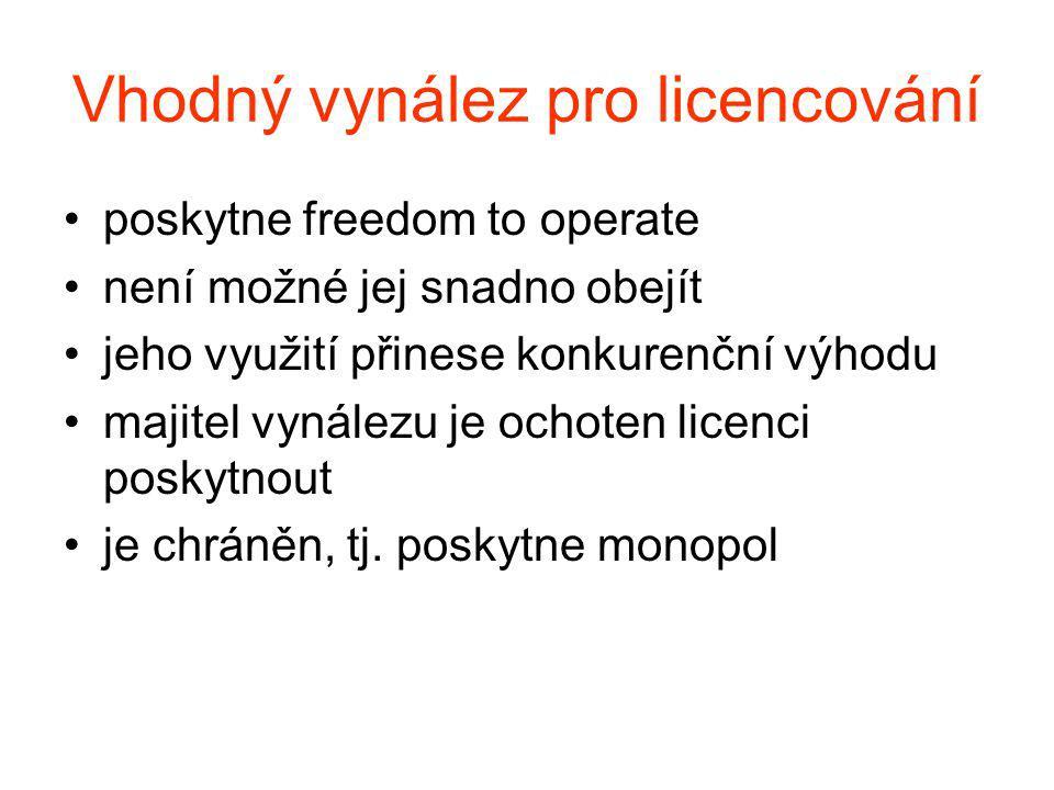 Vhodný vynález pro licencování poskytne freedom to operate není možné jej snadno obejít jeho využití přinese konkurenční výhodu majitel vynálezu je ochoten licenci poskytnout je chráněn, tj.