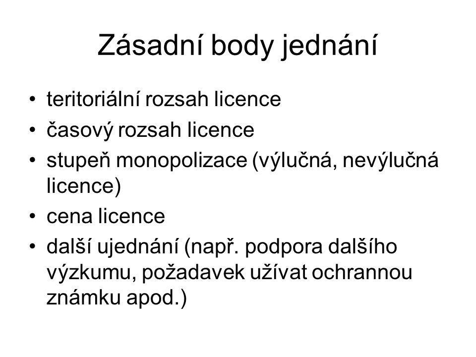 Zásadní body jednání teritoriální rozsah licence časový rozsah licence stupeň monopolizace (výlučná, nevýlučná licence) cena licence další ujednání (např.