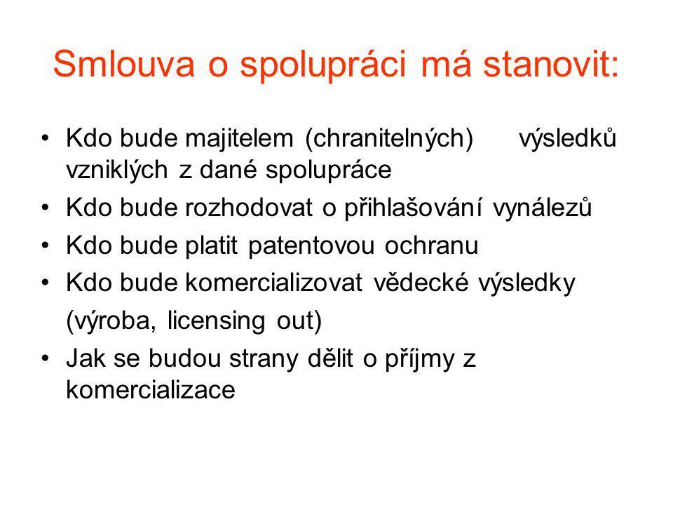 Smlouva o spolupráci má stanovit: Kdo bude majitelem (chranitelných) výsledků vzniklých z dané spolupráce Kdo bude rozhodovat o přihlašování vynálezů Kdo bude platit patentovou ochranu Kdo bude komercializovat vědecké výsledky (výroba, licensing out) Jak se budou strany dělit o příjmy z komercializace