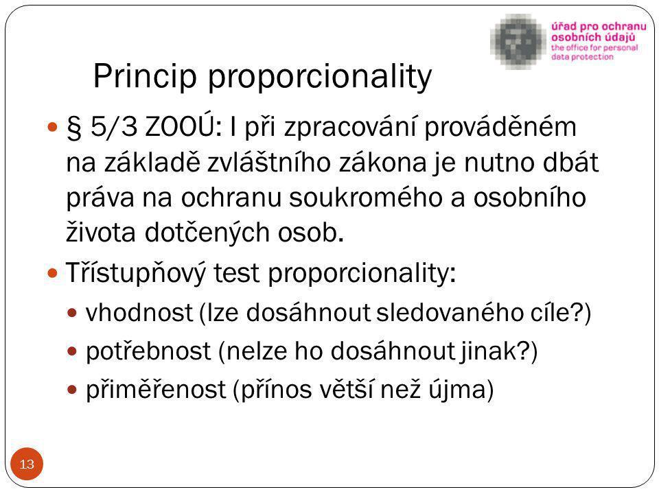 Princip proporcionality § 5/3 ZOOÚ: I při zpracování prováděném na základě zvláštního zákona je nutno dbát práva na ochranu soukromého a osobního živo