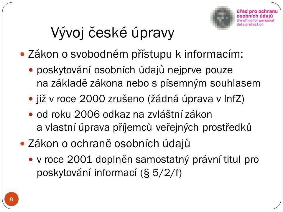 Vývoj české úpravy Zákon o svobodném přístupu k informacím: poskytování osobních údajů nejprve pouze na základě zákona nebo s písemným souhlasem již v