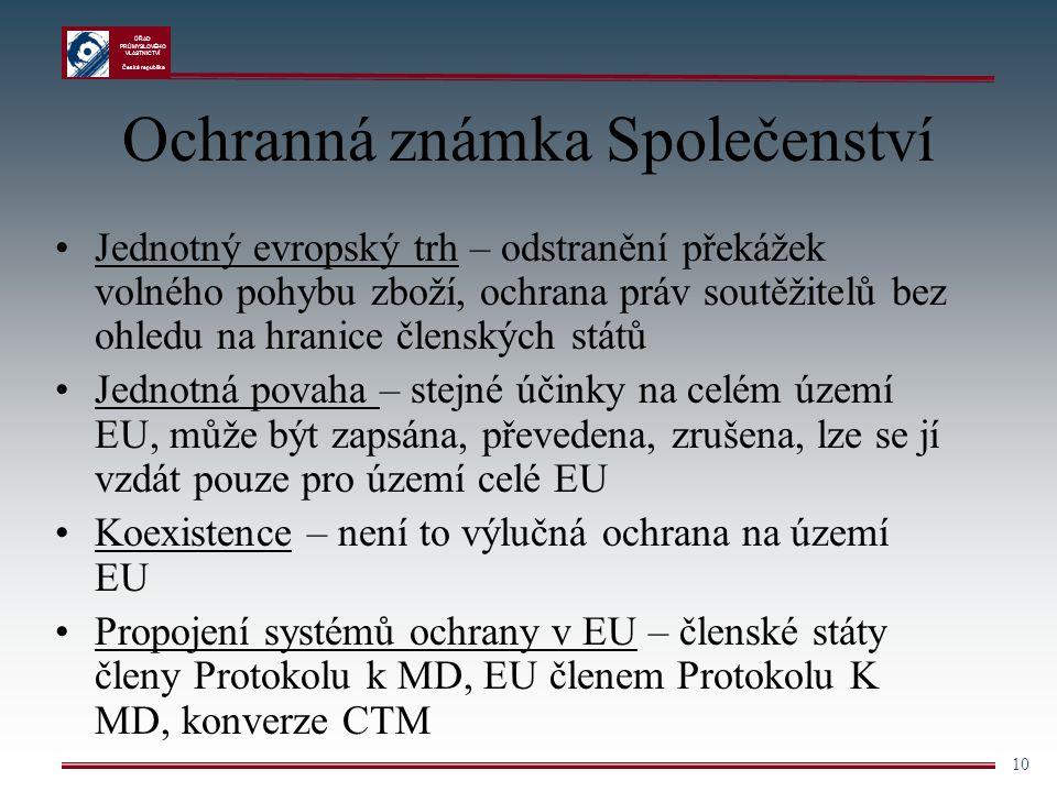 ÚŘAD PRŮMYSLOVÉHO VLASTNICTVÍ Česká republika 10 Ochranná známka Společenství Jednotný evropský trh – odstranění překážek volného pohybu zboží, ochran