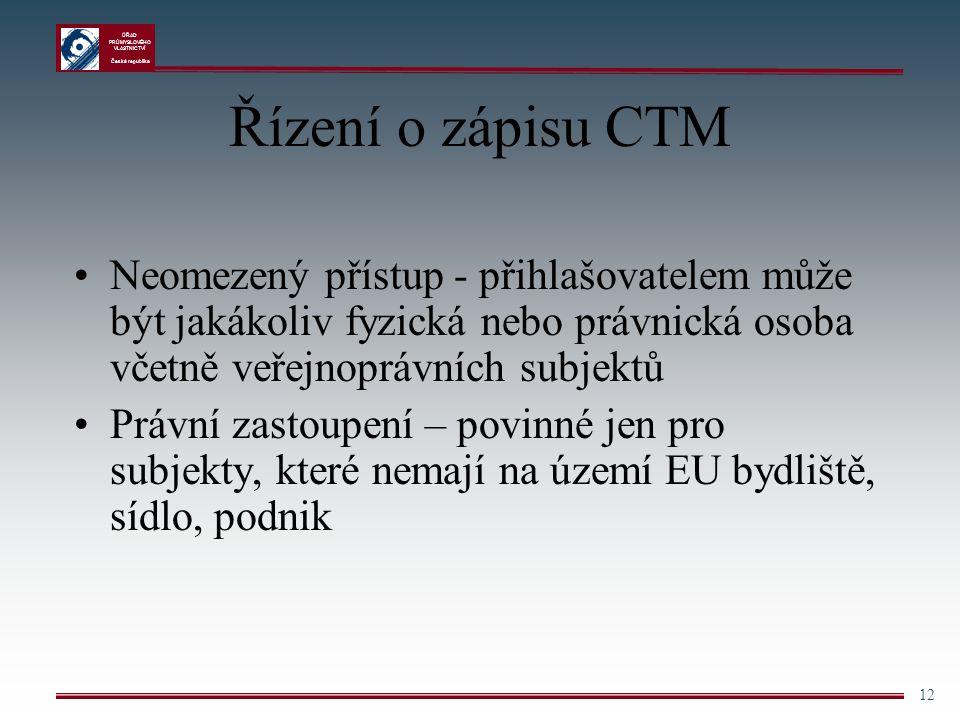 ÚŘAD PRŮMYSLOVÉHO VLASTNICTVÍ Česká republika 12 Řízení o zápisu CTM Neomezený přístup - přihlašovatelem může být jakákoliv fyzická nebo právnická oso