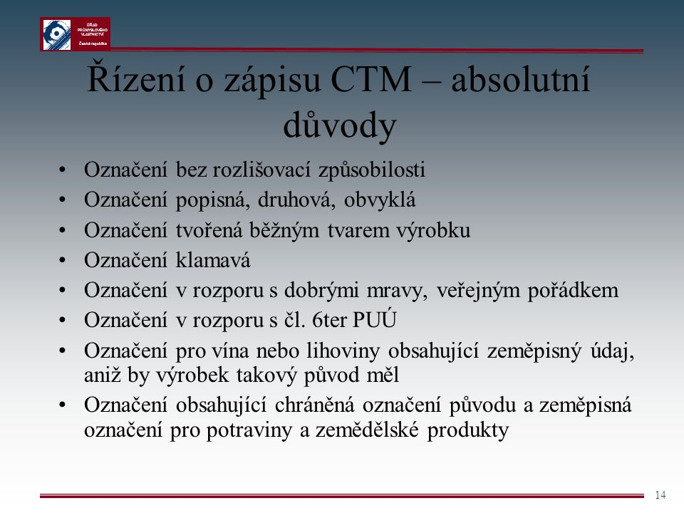 ÚŘAD PRŮMYSLOVÉHO VLASTNICTVÍ Česká republika 14 Řízení o zápisu CTM – absolutní důvody Označení bez rozlišovací způsobilosti Označení popisná, druhov