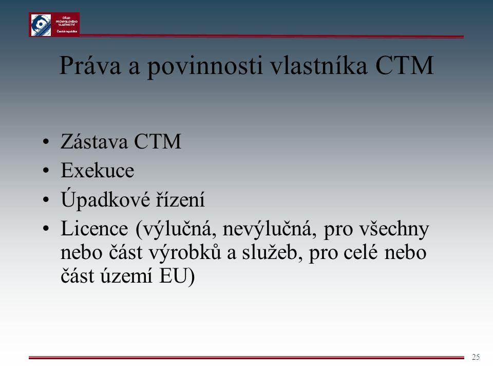 ÚŘAD PRŮMYSLOVÉHO VLASTNICTVÍ Česká republika 25 Práva a povinnosti vlastníka CTM Zástava CTM Exekuce Úpadkové řízení Licence (výlučná, nevýlučná, pro