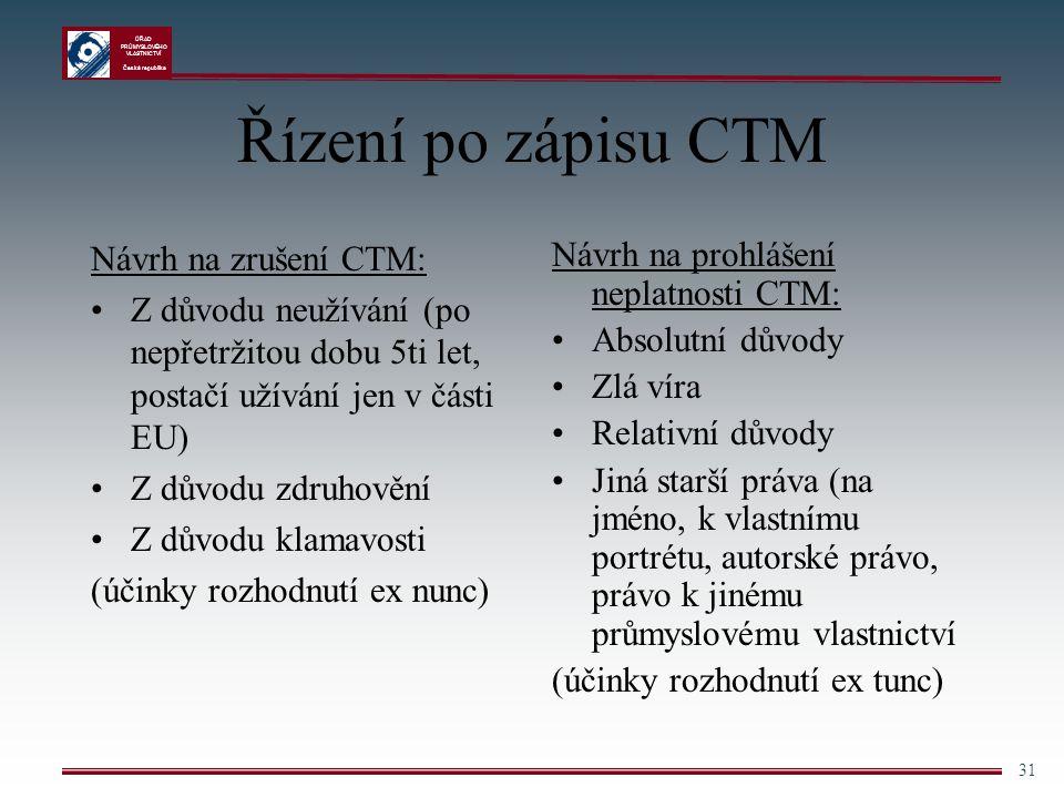 ÚŘAD PRŮMYSLOVÉHO VLASTNICTVÍ Česká republika 31 Řízení po zápisu CTM Návrh na zrušení CTM: Z důvodu neužívání (po nepřetržitou dobu 5ti let, postačí