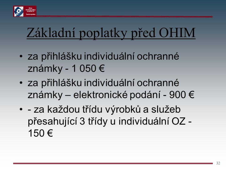 ÚŘAD PRŮMYSLOVÉHO VLASTNICTVÍ Česká republika 32 Základní poplatky před OHIM za přihlášku individuální ochranné známky - 1 050 € za přihlášku individu