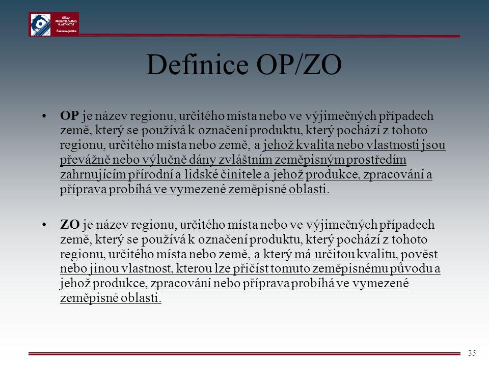 ÚŘAD PRŮMYSLOVÉHO VLASTNICTVÍ Česká republika 35 Definice OP/ZO OP je název regionu, určitého místa nebo ve výjimečných případech země, který se použí
