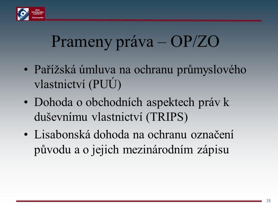 ÚŘAD PRŮMYSLOVÉHO VLASTNICTVÍ Česká republika 38 Prameny práva – OP/ZO Pařížská úmluva na ochranu průmyslového vlastnictví (PUÚ) Dohoda o obchodních a
