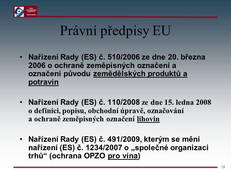 ÚŘAD PRŮMYSLOVÉHO VLASTNICTVÍ Česká republika 39 Právní předpisy EU Nařízení Rady (ES) č. 510/2006 ze dne 20. března 2006 o ochraně zeměpisných označe
