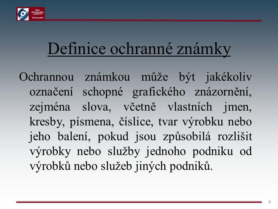ÚŘAD PRŮMYSLOVÉHO VLASTNICTVÍ Česká republika 4 Definice ochranné známky Ochrannou známkou může být jakékoliv označení schopné grafického znázornění,