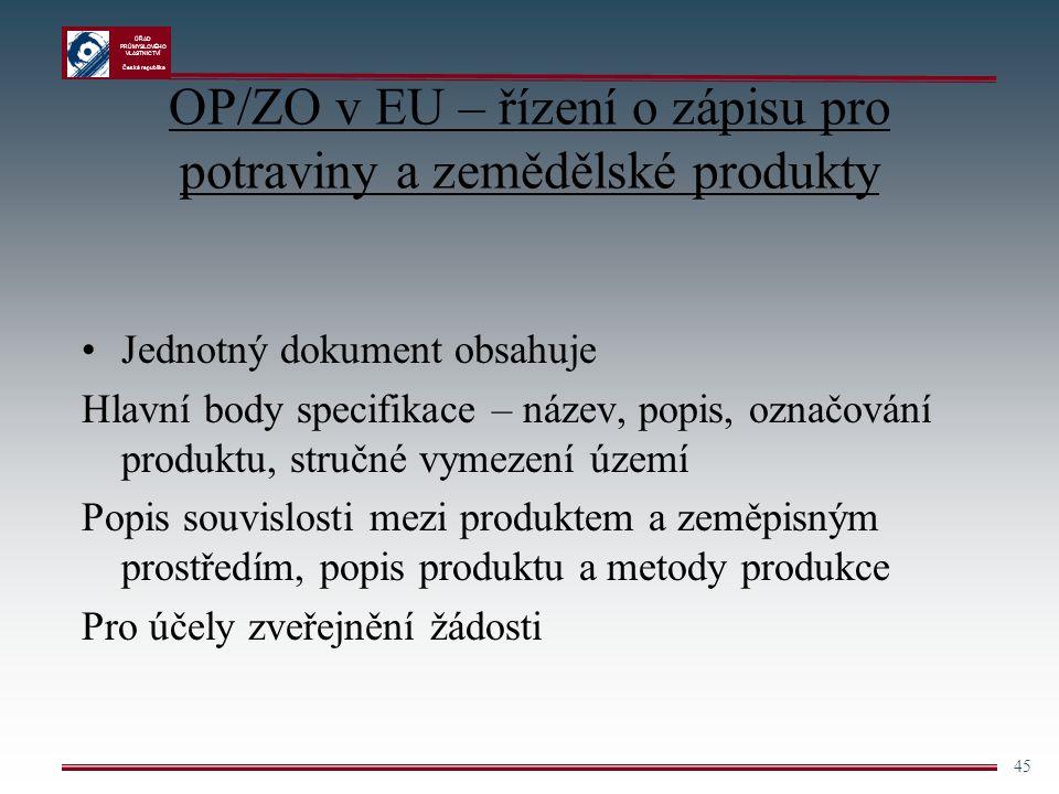 ÚŘAD PRŮMYSLOVÉHO VLASTNICTVÍ Česká republika 45 OP/ZO v EU – řízení o zápisu pro potraviny a zemědělské produkty Jednotný dokument obsahuje Hlavní bo
