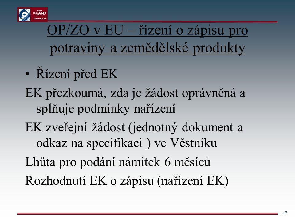 ÚŘAD PRŮMYSLOVÉHO VLASTNICTVÍ Česká republika 47 OP/ZO v EU – řízení o zápisu pro potraviny a zemědělské produkty Řízení před EK EK přezkoumá, zda je