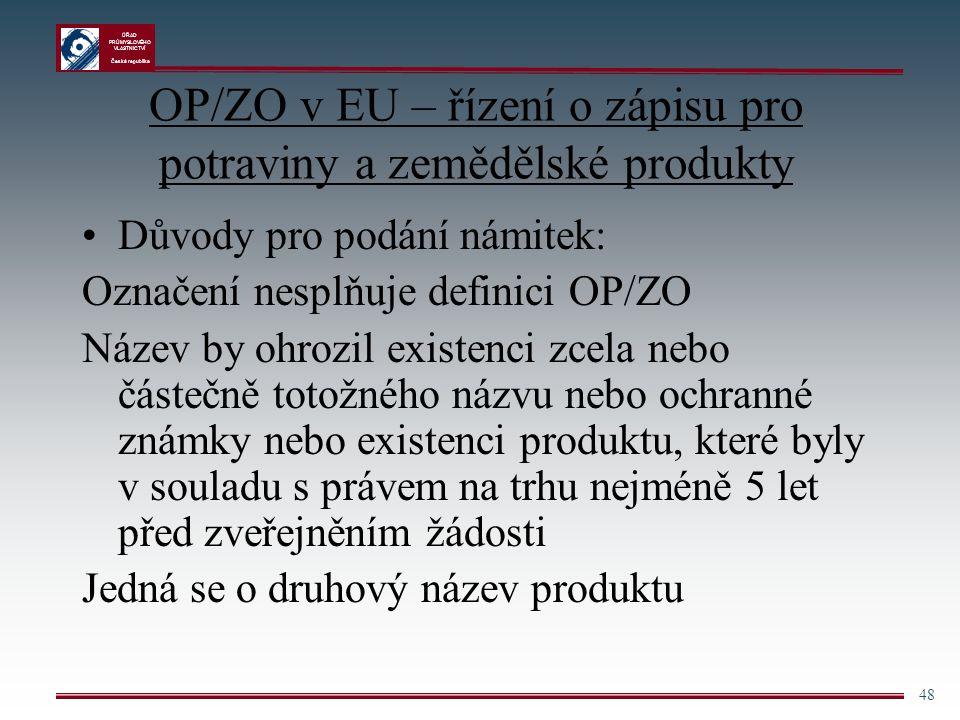 ÚŘAD PRŮMYSLOVÉHO VLASTNICTVÍ Česká republika 48 OP/ZO v EU – řízení o zápisu pro potraviny a zemědělské produkty Důvody pro podání námitek: Označení